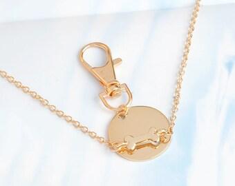 New Gold Alloy Dog Bone Necklace Charm With Keychain Pendant Jewelery