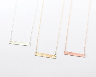Hammered bar necklace - 14k gold fill horizontal bar - minimal gold bar necklace - rose gold fill bar - sterling silver