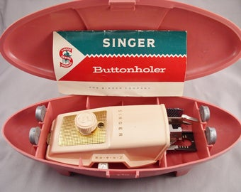 """1950s SINGER BUTTONHOLER in """"Atomic Case"""" - Vintage Sewing Accessory"""