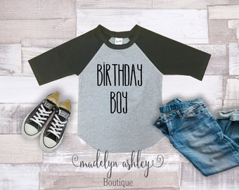 Kid Birthday-Kid Birthday Shirt-Kid Birthday Gift-Kid Birthday T Shirts-Kid Birthday Party-Boys' Clothing-Tops-Clothing-Birthday Boy Raglan
