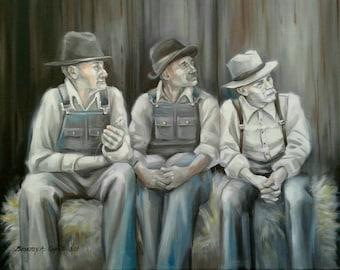 Three Wise Men Archival Giclee Print farmer country ranch rural rancher barn pioneer western art farm