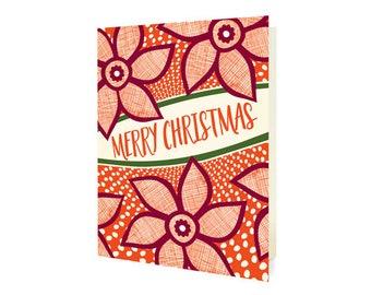 Merry Poinsettias Folded Christmas Cards, Box of 10 - Holiday Cards - OC1190-BX