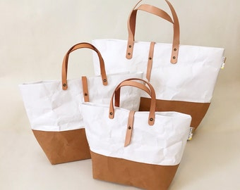 Tote Bag with Closure : Tyvek and Kraft paper tote bag/market bag/handbags/lunch bag/shopping bag/washable bag and eco friendly