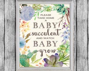 Baby Shower Succulent Favors Sign 8x10, Digital File, Instant Download. Succulent Favors Baby Shower Sign. Baby Boy Favors.