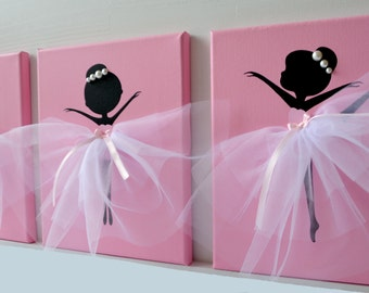 Three Dancing Ballerinas in Pink. Nursery décor for girls.