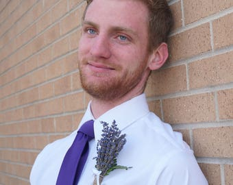 Groom's Boutonniere - Stunning Dried Lavender, Bold color & fragrant
