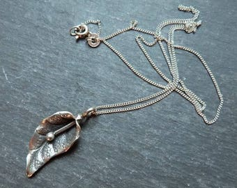 Silver Lily - Karen hill tribe silver lily pendant - sterling silver chain - fine silver - Karen silver lily - uk
