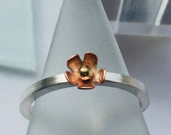 Sterling Silver Stacking Ring with Copper Flower and 9ct Gold bead