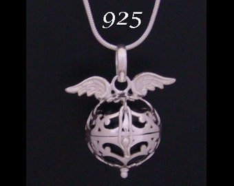 Harmony Ball, Angel Caller with Angel Wings on the 925 Sterling Silver Cage with Black Chime Ball. Bola Necklace, Pregnancy Gift 550