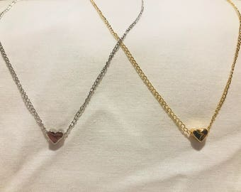 Gold/Silver Heart tiny pendant, charm chain, dainty necklace