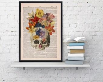 Dictionary Book Print  Flowers and  Skull collage Printed on Vintage Dictionary Book page- Wall decor art SKA016