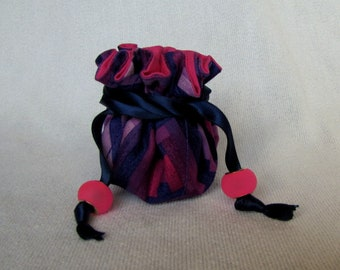 Fabric Jewelry Pouch - Mini Size - Traveling Jewelry Bag - Travel Tote - MASQUERADE