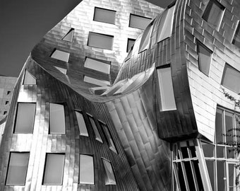 Black and White Travel Photography, Gehry Architecture, Silver, Modern, Abstract, Vertical Image, Office Decor