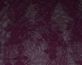 "Dark Grape Floral/Wavy Stripes Nylon/Lycra Stretch Lace Fabric 53"" W"