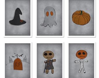 DIGITAL Halloween postcards-set of 6 instant downloads halloween decor-halloween favors-print your own