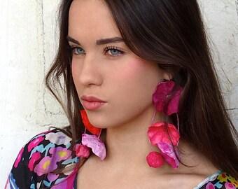 Statement Earrings, Long Paper Flowers Earrings, Dangle Earrings, Paper Jewelry, Design Jewelry, Gift Ideas, Boho, Flower Girl, Hippie