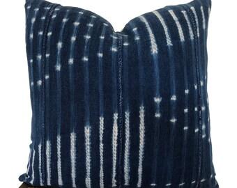 "Vintage African Indigo Mudcloth Pillow Cover   20"""