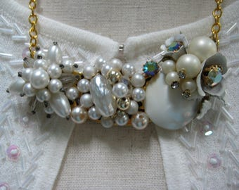 vintage upcycled necklace, assemblage, statement necklace, bridal wedding, repurposed jewelry, reclaimed, recycled jewelry, white pearl/N184
