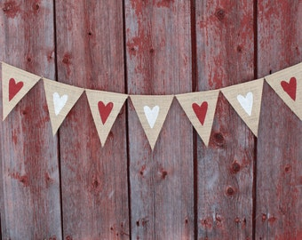 Heart Banner Valentines Day Decor Garland Bunting