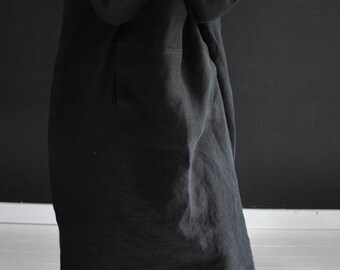 Black linen dress,  PEKING, shift dress with a long skirt underneath, 100% fine linen ready to be shipped