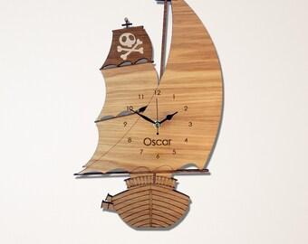 Pirate Ship Wall Clock, Pirate Children's Clock,