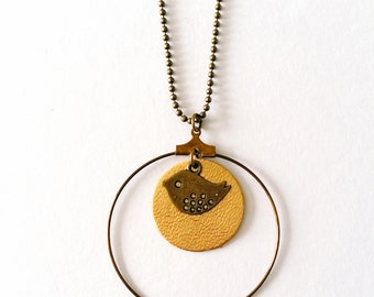 Necklace - gold leather and bronze metal - Birdy Agathe and Ana