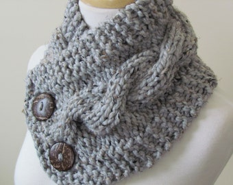 "Knit Neck Warmer, Cable Knit Scarf,  Chunky Warm Winter Scarf in Grey Marble 6"" x 25"" Coconut Shell Buttons Ready to Ship - Gift for Her"
