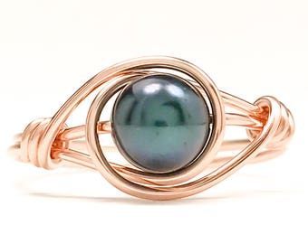 Rose Gold Black Pearl Ring, Gold Filled Pearl Ring, Solitaire Pearl Ring