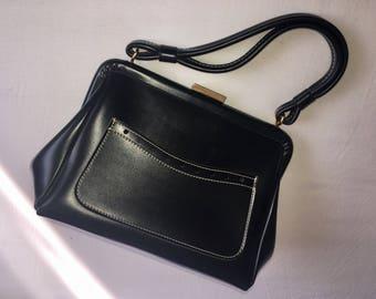 MACLAREN Vintage 1970s Small Black Faux Leather Ladies Bag Handbag