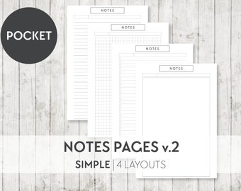POCKET Printable Notes and To Do Pages v.2 - Filofax Printable Planner Inserts Pages - INSTANT DOWNLOAD