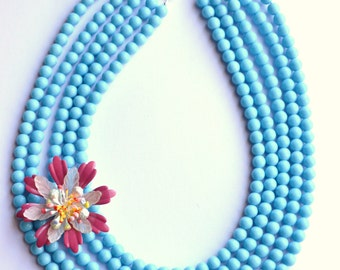 Carrie - Blue Statement Necklace Flower Brooch Necklace Multi Strand Necklace