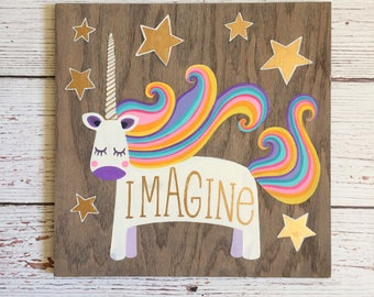Unicorn Wall Art - Unicorn Nursery - Nursery Art - Unicorn Decor - Nursery Wall Art - Rainbow Nursery - Rainbow Wall Art - Girls Room Decor