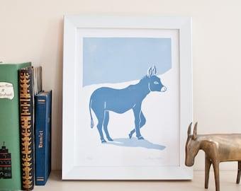 Linogravure originale sur papier, édition limitée, âne bleu, animaux, illustration animale, bleu, fait main, art.