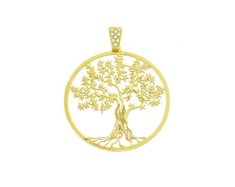 Tree of Life pendant 925 sterling silver plated gold yellow contromaglia 925 sterling silver gold-plated, diameter mm35
