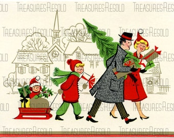 Family Getting Ready For Christmas Bringing Home The Tree Card #332 Digital Download