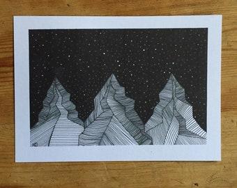 A5 mountains original print