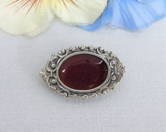 Elias Sterling Silver and Pewter Picture Frame Brooch