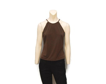Vintage 1990's Brown Tank Top Laundry by Shelli Segal High Neck Halter Top Neckline Size Medium Dressy Top Blouse 1995