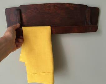 1950s Hand Made Wood Towel Rack