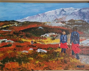 "painting in acrylic ""Autumn in Norway"" on canvas cloth 30 x 40 cm"