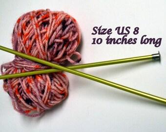 Knitting Needles Size 8 Aluminum 10 inches Long 5.0 mm