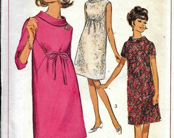 Vintage 1960s Simplicity 6590 MATERNITY DRESS Roll Collar Sewing Pattern Size 10 Bust 31