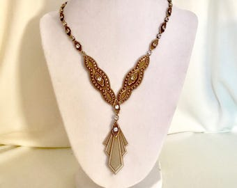 Vintage 70s Brass and Rhinestone Necklace   GJ2909