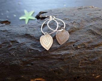 BOHO EARRINGS,  silver earrings, autumn jewelry, etched earrings, one of a kind jewelry