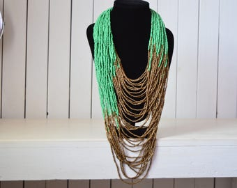 African Maasai Beaded Necklace | African Jewelry | Tribal Necklace | Chunky | Green and copper Necklace | One size fits all | Gift for Her
