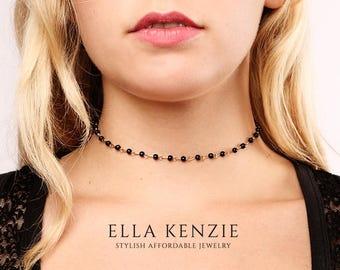 Black Bead Necklace, Black Beaded Choker Necklace, Bead Necklace Choker, Delicate Choker Necklace, Black Choker Necklace, Gold Bead Necklace