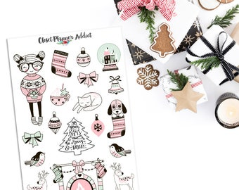 Pink Christmas Planner Stickers | Mystery Grab Bag November 2017 | Christmas Stickers | Holiday Stickers (MGB-NOV17)