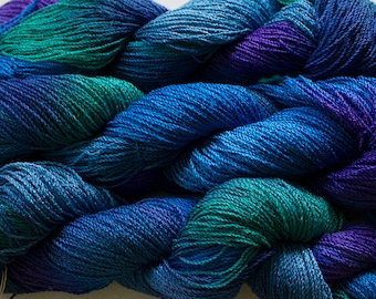 Nuthatch, Hand painted yarn, fine cotton/rayon cable, 300 yds -  Deep Blues