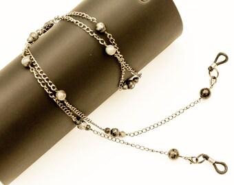 Glasses Chain. Spectacle Holder Chain. Eyeglass Chain. Sunglasses Holder Chain. Larvikite Gemstones & Gunmetal Neckchain Eyeglass Lanyard