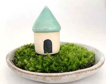 Micro miniature house - one miniature fairy cottage, white clay, carved entry, mint glaze
